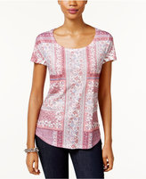 Style&Co. Style & Co Petite Sublimated-Print T-Shirt, Only at Macy's