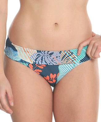 Sun And Sea Sun and Sea Women's Bikini Bottoms MULT - Blue Floral Stripe Fold-Over Bikini Bottoms - Women