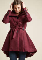 Steve Madden Winterberry Tart Coat in Berry in 3X - Fit & Flare Coat by from ModCloth