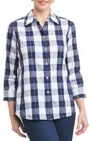 Foxcroft Sue Shaped Fit Crinkle Plaid Shirt