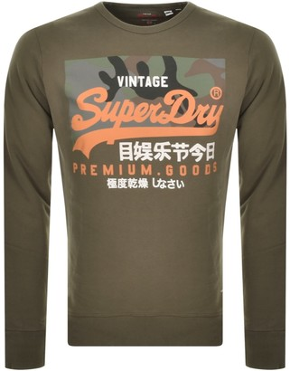 Superdry Orange Camo Crew Neck Sweatshirt Green