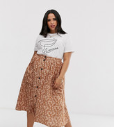 Asos DESIGN Curve button front midi skirt with pockets in ditsy floral print