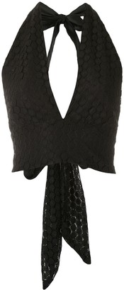 Olympiah Lamier lace cropped top