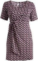 Glam Black & Purple Geometric Gathered-Waist Shift Dress - Plus