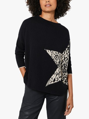 Mint Velvet Star Front Boat Neck Jumper, Black