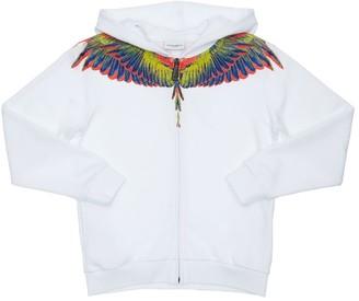 Marcelo Burlon County of Milan Wings Print Cotton Zip-Up Sweatshirt
