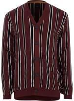 River Island Burgundy Stripe Knit Cardigan
