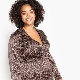 Castaluna Plus Size Flared Leopard Print Wrapover Dress
