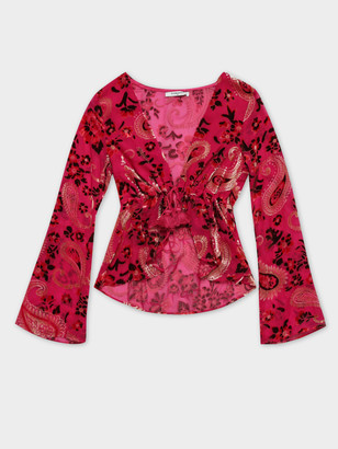 Glamorous Paisley Tie Front Top in Pink