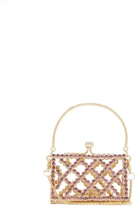 Rosantica Baby Garofano Mini Caged Crystal Cross-body Bag - Light Pink