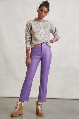 AVEC LES FILLES Lettie Straight Faux Leather Pants By in Purple Size 0