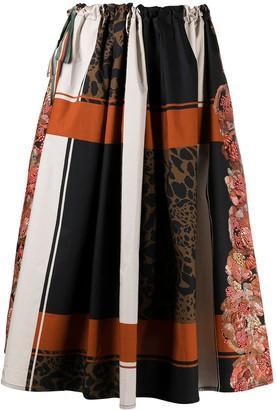 Pierre Louis Mascia patchwork print A-line midi skirt