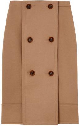 Burberry Button Panel Detail Wool Cashmere A-line Skirt