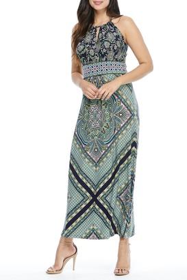 London Times Halter Neck Sleeveless Jersey Maxi Dress (Petite)