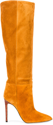 Paris Texas Velour Tall Stiletto Boot in Cognac | FWRD