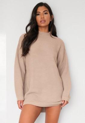 Missguided Petite Sand Rib High Neck Knit Longline Mini Dress