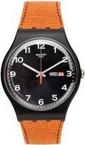 Swatch Watch, Unisex Swiss Faux Fox Orange Silicone Strap 41mm SUOB709