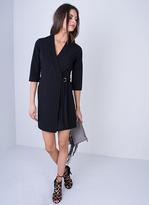Missy Empire Delora Black Pinstripe Side Wrap Utility Dress