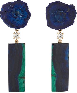 Jan Leslie 18k Bespoke 2-Tier Luxury Earrings w/ Azurite Geode, Azurite Malachite & Diamonds