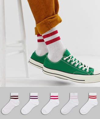 Asos Design DESIGN 5 pack short sports socks with stripes in red and pink tones save-White