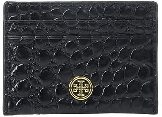 Tory Burch Robinson Embossed Card Case (Black) Handbags
