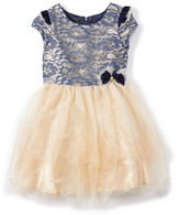 Biscotti Girls' Special Occasion Dresses NAVY - Navy & Gold Lace Tulle A-Line Dress - Girls