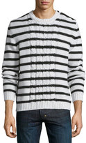 Moncler Cable-Knit Striped Long-Sleeve Sweater, Ivory