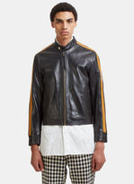 Wales Bonner Chapal Racing Stripe Cropped Leather Jacket in Black