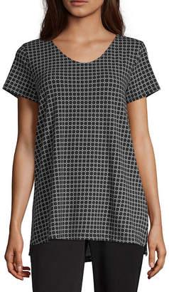 Liz Claiborne Studio Womens V Neck Short Sleeve Tunic Top