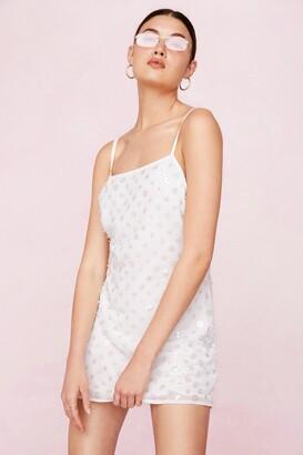 Nasty Gal Womens Bridal Beaded Low Back Mini Dress - White - 12