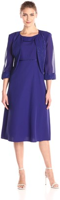 Maya Brooke Women's Shimmer Trim Jacket with Fit and Flare Dress