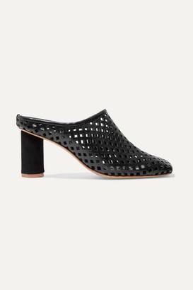 SALONDEJU Rond Laser-cut Leather Mules - Black