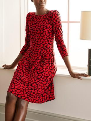 Boden Francesca Printed Jersey Dress, Red Brush