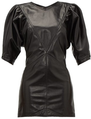 Isabel Marant Xadela Leather Mini Dress - Womens - Black