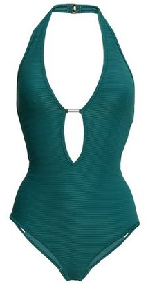 Jets Disposition Plunged Ribbed Halterneck Swimsuit