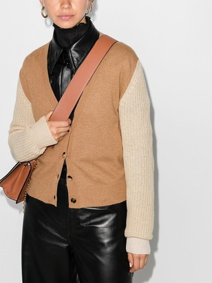 Marni Contrast-Sleeve Button-Up Cardigan