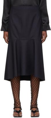 Balenciaga Navy Faded Pinstripe Godet Skirt