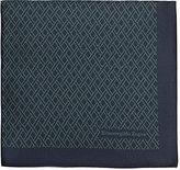 Ermenegildo Zegna Men's Geometric-Pattern Silk Pocket Square-NAVY