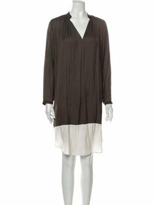 Ulla Johnson V-Neck Knee-Length Dress Green