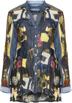 Elisa Cavaletti Plus Size Printed denim detail shirt