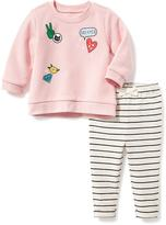 Old Navy Graphic Sweatshirt & Patterned Leggings Set for Baby