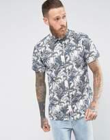 Selected Short Sleeve Shirt In Regular Fit With Hawaiian Print