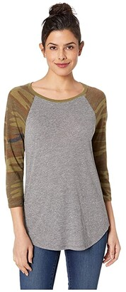 Alternative Eco Jersey Raglan Baseball (Eco Grey/Camo) Women's Clothing