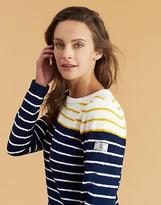 Joules Seaham Women's Chenille Jumper in French Navy Antique Gold Block