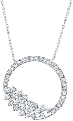 Lab Grown Diamond Open Circle Necklace, 3/4 Ctw 10K Solid Gold by Smiling Rocks
