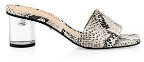 Schutz Women's Mirlande Snake-Print Clear Heel Slides Sandals