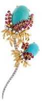 David Webb 18k Yellow Gold Turqiouse Diamond and Ruby Flower Pin