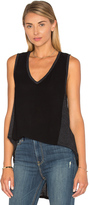 Heather Cotton & Gauze V Neck Panel Tank