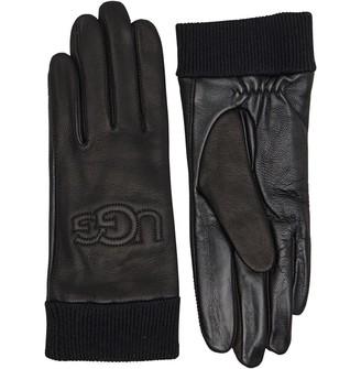 UGG Womens Knit Cuff Leather Logo Gloves Black