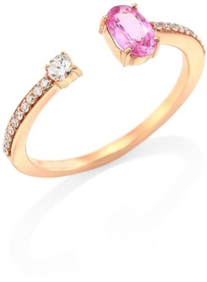 Hueb Rainbow Diamond, Pink Sapphire & 18K Rose Gold Open Ring